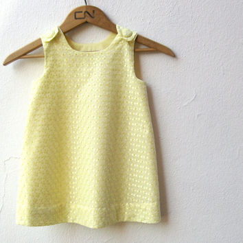 The Lemon Ice Dress - girls summer dress - party flower girls pinafore in textured yellow eyelet lace (ready to ship SIZE 3T)
