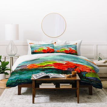 Ginette Fine Art Pool Flowers Duvet Cover