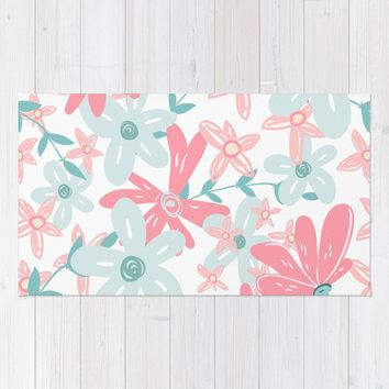 coral and mint flowers Rug by sylviacookphotography