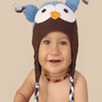 CCA02 Blue And Brown With White Eyes Crochet Owl Hoot Knit Baby Hat Prop