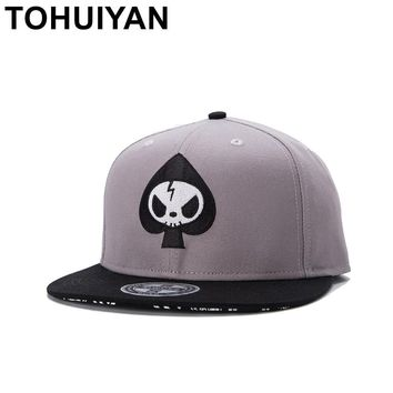 Trendy Winter Jacket TOHUIYAN Skull Embroidery Snapback Cap Street Dance Adjustable Baseball Hat Flat Visor Rock Punk Caps Hip Hop Hats For Men Women AT_92_12