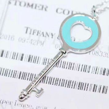 Tiffany trendy fashion silver to create classic blue heart series necklace high quality