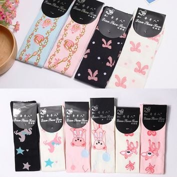 Kawaii Female Fashion Thigh High Stockings Long Girl's Cotton Patterned Stockings for Wholesale (10 Colors)