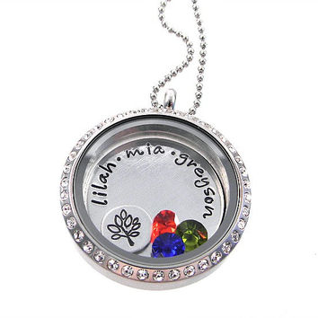 Family Tree of Life Necklace / Living Locket  / Floating Origami Locket