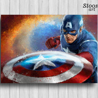 captain america print avengers decor superhero poster