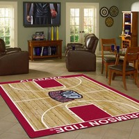 Alabama University Basketball Court Rug