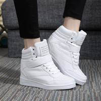 New 2016 spring autumn ankle boots heels shoes women casual shoes height increased high top shoes mixed color for adults 34-40