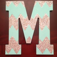 Wooden Chevron Initial 'M' Wall Dorm Decor