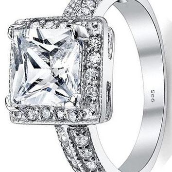 2 Carat Princess Cut Cubic Zirconia Sterling Silver 925 Wedding Engagement Ring