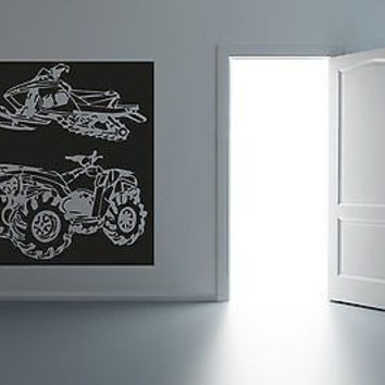 ATV and Snowmobile Outdoors Fun Garage Mancave sticker Decal R017