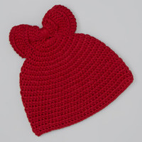 Red Chunky Bow Crocheted Beanie | zulily