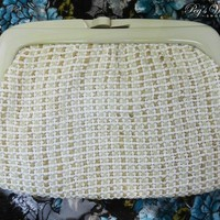 Vintage Beige Raffia Clutch Purse, Lucite Handle, Straw Handbag, Made In Italy, Vintage 60s Purse