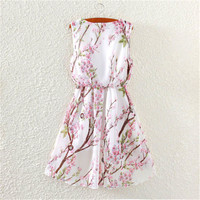 New Arrival  Women Floral Summer Dress Peach blossom Printing Elegant Chiffon Pleated Dress Chinese Style Sundress