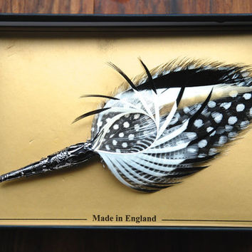 "Feather Bountonniere Lapel Pin ""Whistlin Dixie"" Black White Gold Hand Made to Order Genuine Widgeon Pheasant Guinea Fowl Gunmetal Vase"