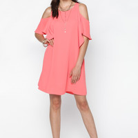 Neon Coral Cold Shoulder Ruffle Dress