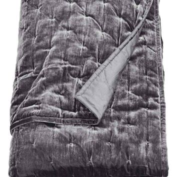 Velvet bedspread - Dark grey - Home All | H&M GB