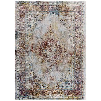 Success Merritt Transitional Distressed Floral Persian Medallion  5x8 Area Rug