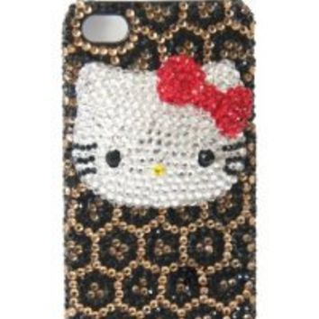 LUXURY Diamond Style Hello Kitty Crystal BLING 3d Handmade Leopard Print Iphone 4/4s case/cover by Jersey Bling