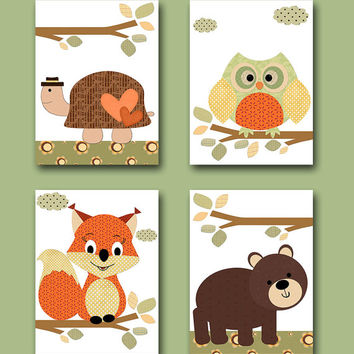 Kids wall art Turtle Nursery Bear Nursery Squirrel Nursery Owl Nursery Baby Girl Nursery Art Kids Art Baby Room Decor set of 4 8x10 orange