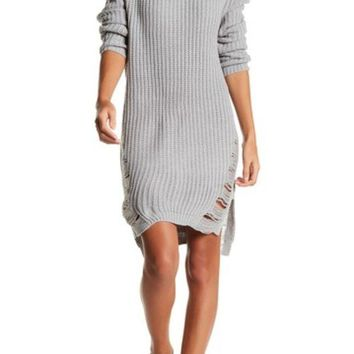 DCCKHB3 Solutions | Distressed Long Sleeve Sweater Dress