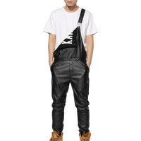 Letters Printed Men PU Leather Overalls Pants 2017