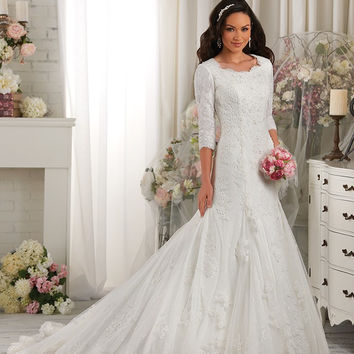 Bonny Bliss 2421 Modest Lace Fit & Flare Wedding Dress