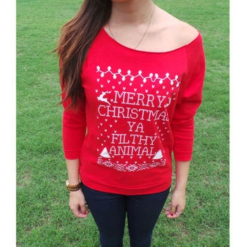 Merry Christmas Ya Filthy Animal- Ugly Christmas Sweater - Off The Shoulder Red Slouchy Oversized Home Alone Womens Sweat Shirt