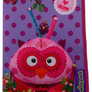 Okiedog Wildpack 3D Pencil Case Pippa Owl Purple Zippered Pouch School Supply