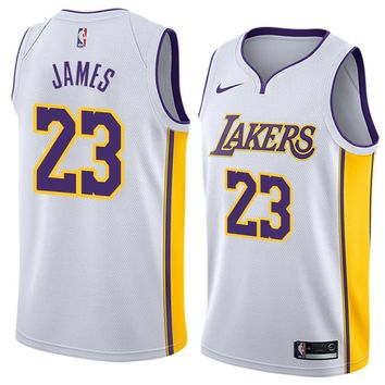 LeBron James Jersey 2018-19 Men's Los Angeles Lakers #23 Nike Swingman-Icon Edition Color White