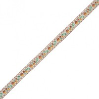 Brown Floral German Jacquard Ribbon - 0.5