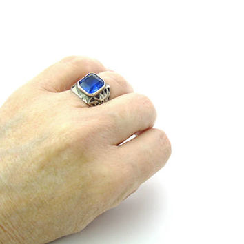 Handmade Boho Blue Stone Ring. Pierced Sterling Silver Wide Band. Large Octagon Sapphire Glass. Rustic Vintage 1970s Statement Jewelry