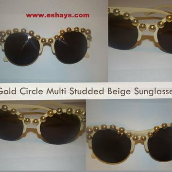 Glasses- Gold Circle Multi Studded Beige Sunglasses