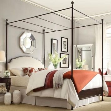 Queen Size Metal Canopy Bed with White Cream Linen Upholstered Headboard