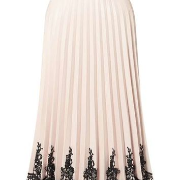 PREMIUM Nude Faux Leather Midi Skirt - Skirts - Apparel