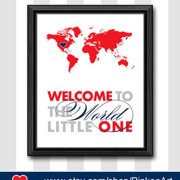 red navy baby nursery decor welcome to the world nursery map print new baby nursery travel theme new parents gift playroom decor babys room