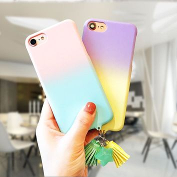 LOVECOM Gradient Candy Color Phone Case for iphone 6 6S 7 8 Plus Matte Hard PC Star tassel Pendant Funda Coque  Back Cover