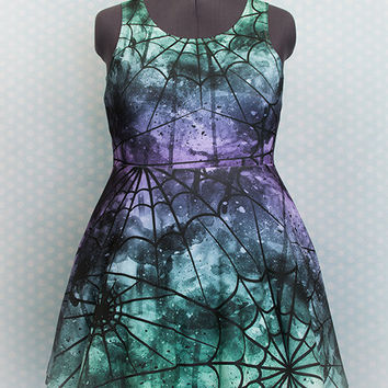 Spider Queen Spiderweb Printed Skater Dress Fairy Kei Pastel Goth Kawaii