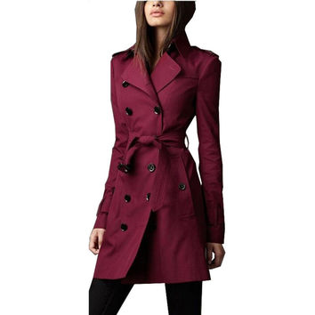 Trench Coat for Women 2016 New Fashion Autumn Winter Waist Belt Double Breasted Asymmetric Slim Long  Trench Coat  Y00037