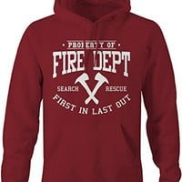 Shirts By Sarah Men's Firefighter Hoodie Property Of Fire Dept Sweatshirt