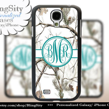Snow Camo Turquoise Monogram Galaxy S4 case S5 RealTree Tree Winter Camo Personalized Samsung Galaxy S3 Case Note 2 3 Cover Country Girl