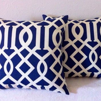Decorative-Accent-Throw Pillow Cover Set of Two -18 inch Geometric Trellis.Cream on Navy-Free Domestic Shipping