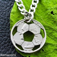 Soccer Ball Necklace, hand cut coin