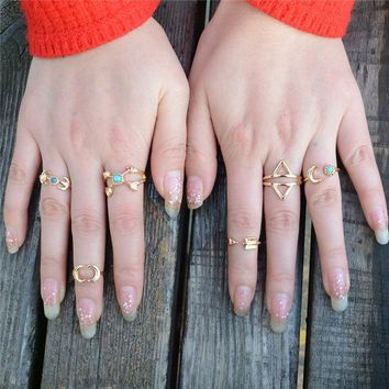 LMF9GW 6PCS Vintage Turkish Beach Moon Arrow Ring Set Ethnic Carved Silver Plated Midi Finger Ring Knuckle Punk Boho Ring Sets