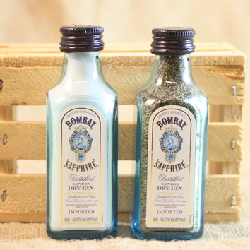 Salt & Pepper Shaker from Upcycled Glass Bombay Sapphire Gin Mini Liquor Bottles