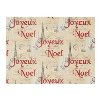 Paris French Postcards Christmas Fleece Blanket