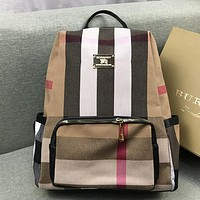 Burberry Women Leather Travel Bookbag Shoulder Bag Backpack