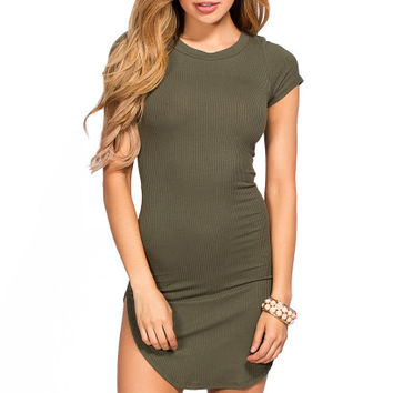 Ciara Olive Ribbed Jersey Short Sleeve Bodycon Casual Tunic Dress