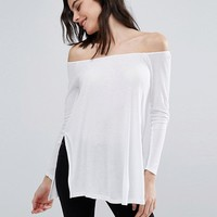 ASOS PETITE Off Shoulder Slouchy Top with Side Splits at asos.com