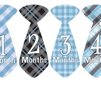 Baby Month Stickers Baby Monthly Onesuit Stickers Blue Black Plaid Preppy Boy Tie Month Onesuit Stickers Baby Shower Gift Photo Prop Dylan