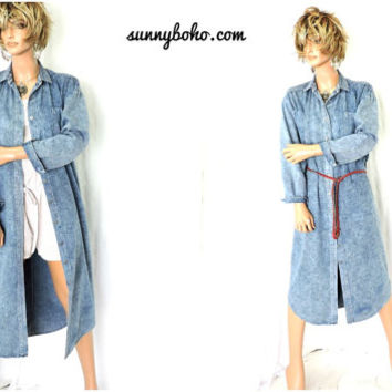 80s acid washed denim duster coat / shirt dress size M / L  1980s boho lightweight long denim jacket/ jean shirt dress SunnyBohoVintage